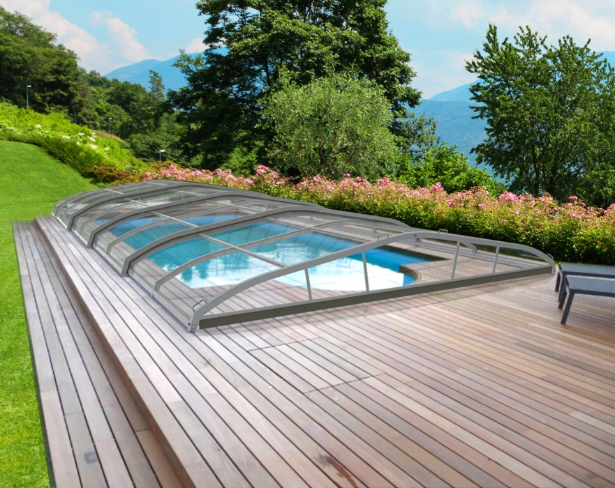 Abri bas t lescopique for Prix piscine 4x8